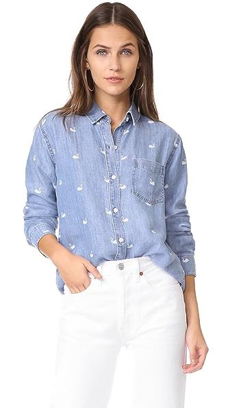 RAILS Ingrid Button Down Shirt - Swan Print