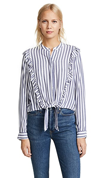 RAILS Piper Blouse In Ocean White Stripe