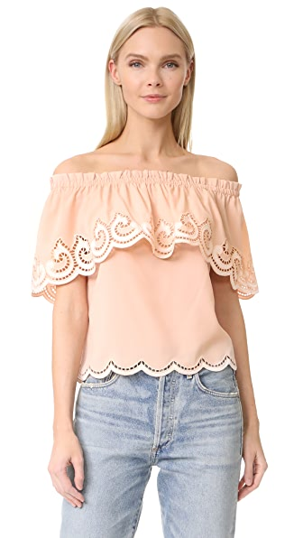 Ramy Brook Kira Embroidered Off Shoulder Top - Blush/White