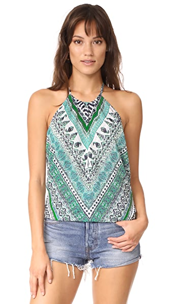 Ramy Brook Capri Herringbone Printed Pixie Blouse In Turquoise Combo