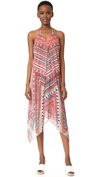 Ramy Brook Capri Herringbone Print Nadia Dress In Multi Combo