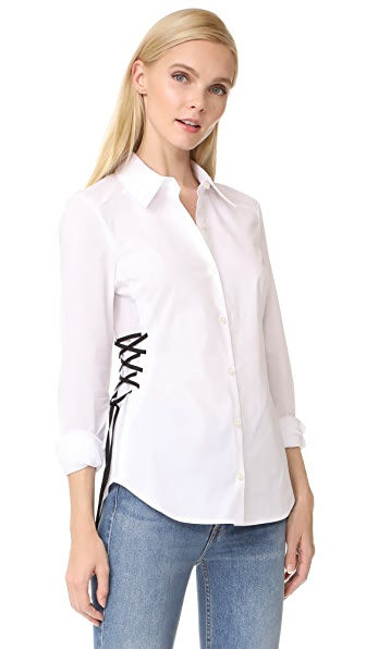 Ramy Brook Lila Lace Up Button Down Shirt - Optic White/Black