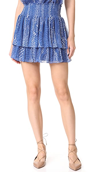 Ramy Brook Ibiza Dot Printed Annabelle Skirt - Blue Multi Combo