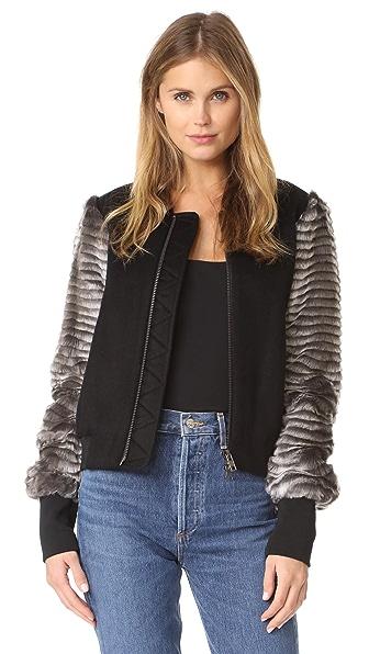 Ramy Brook Nicole Jacket In Striped Faux Fur