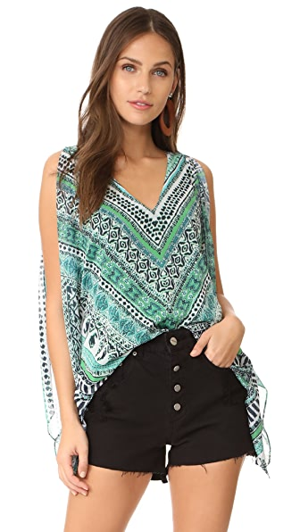 Ramy Brook Lily Blouse In Herringbone Print Turq Multi