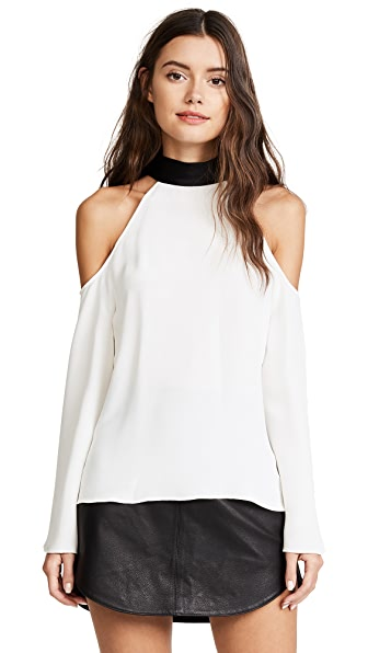 Ramy Brook Serena Blouse In Soft White/Black