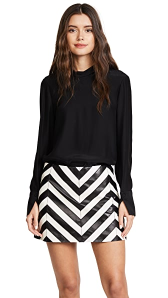Ramy Brook Kaitlynn Leather Skirt In Black Chevron/Soft White