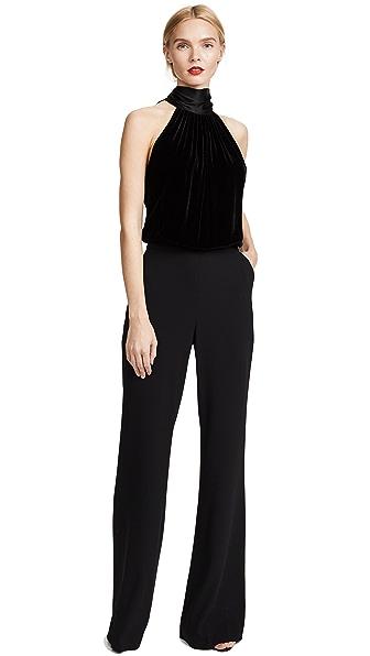 Ramy Brook Paige Velvet Jumpsuit In Black
