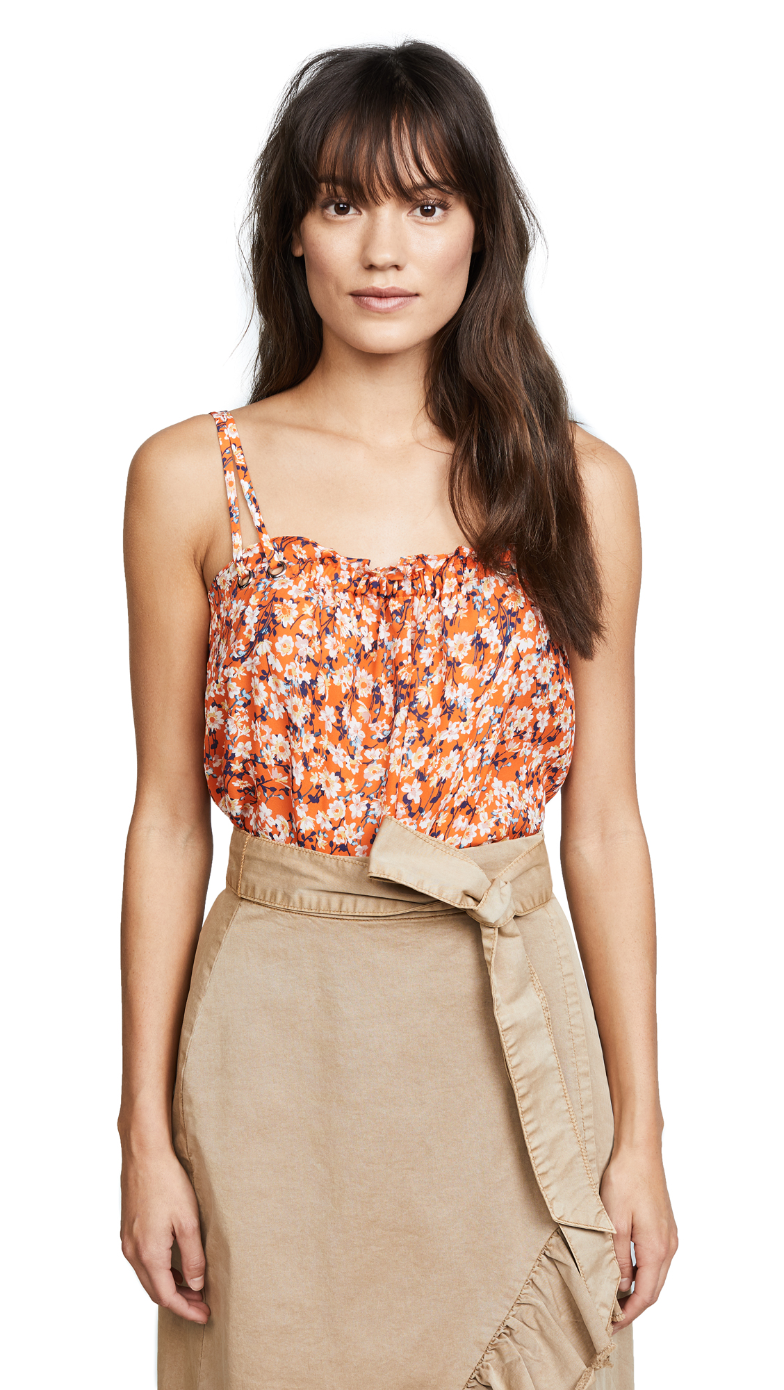 Ramy Brook Siena Top In Tiger Lilly