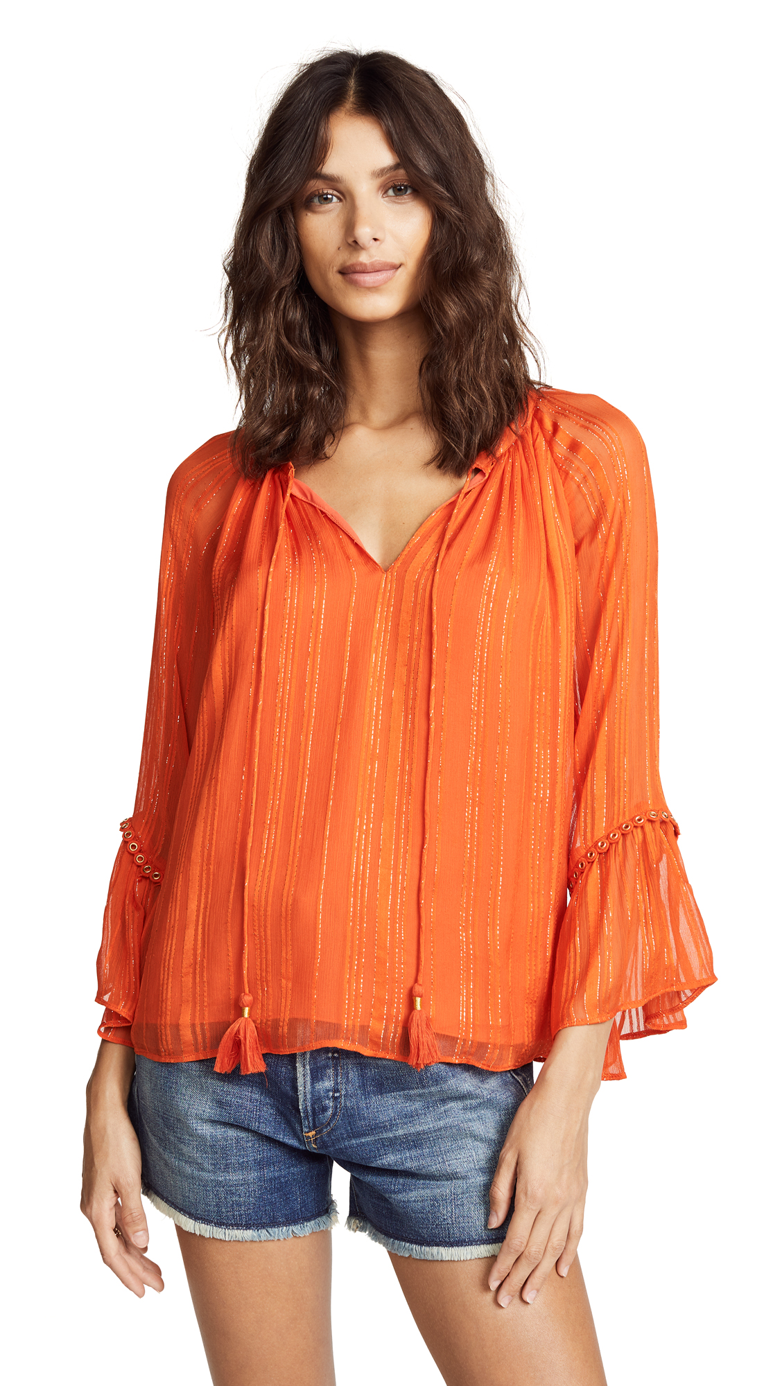 Ramy Brook Logan Top In Bright Orange