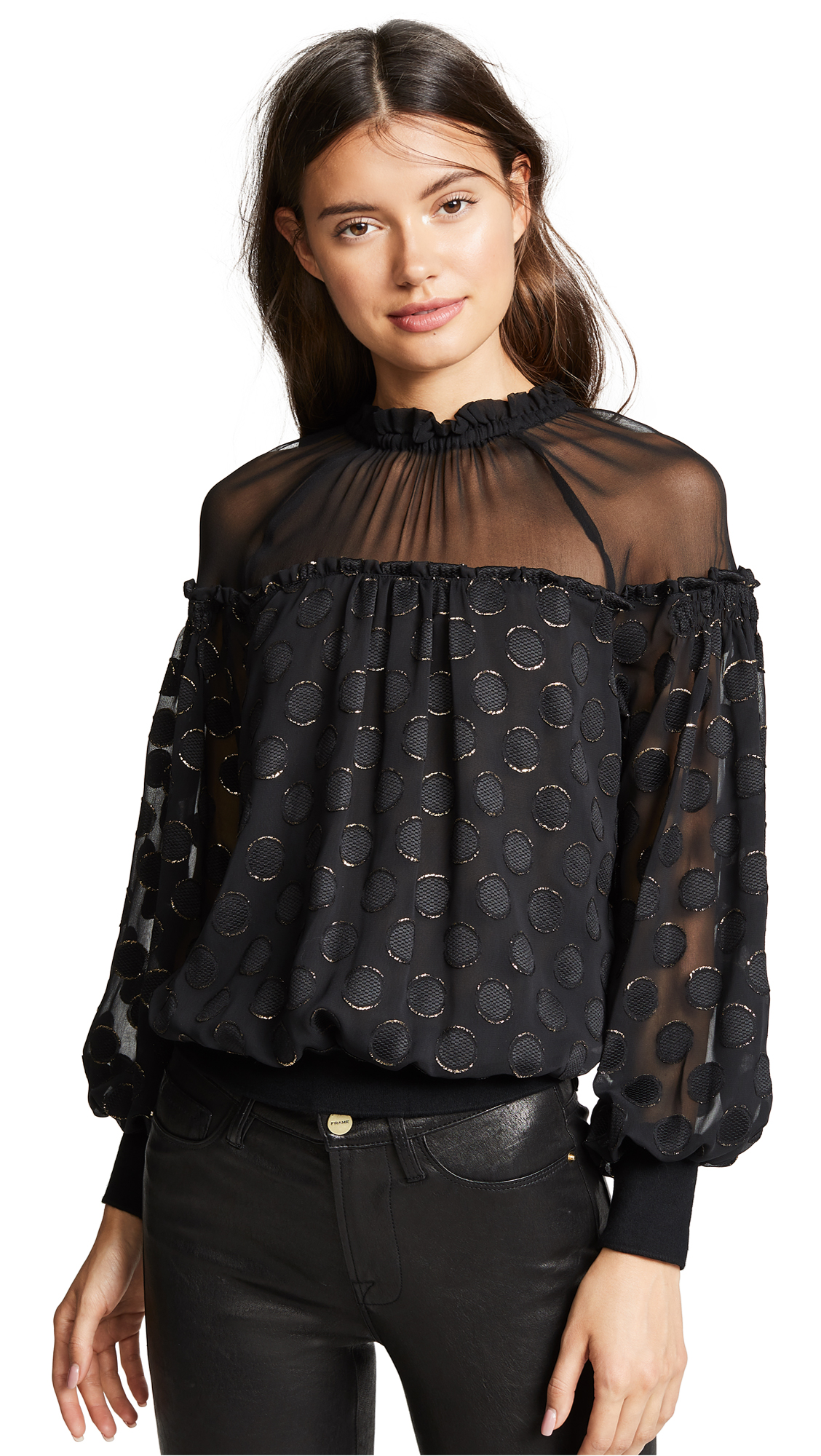 Ramy Brook Evelina Top In Black/Gold Combo