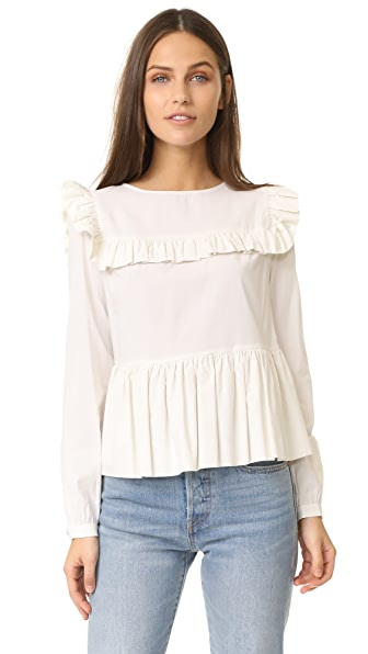 Rachel Antonoff York Ruffle Yoke Long Sleeve Blouse