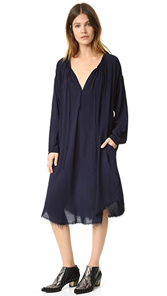 Raquel Allegra Long Sleeve Shirred Dress