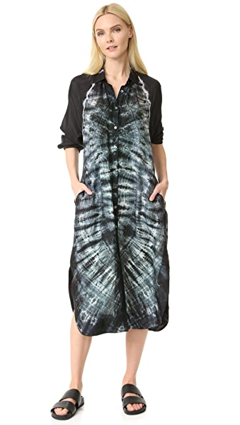 Raquel Allegra Shirt Dress - Black Tie Dye