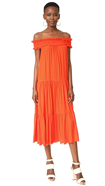 Raquel Allegra Off the Shoulder Shirred Dress In Persimmon