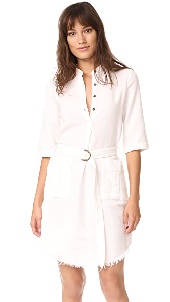 Raquel Allegra Henley Cargo Dress - White