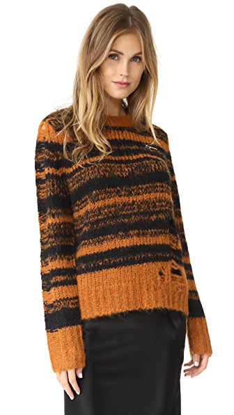 Raquel Allegra Stripe Fitted Sweater - Amber/Black