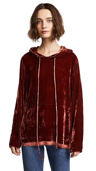 Raquel Allegra Long Sleeve Hoodie In Cognac