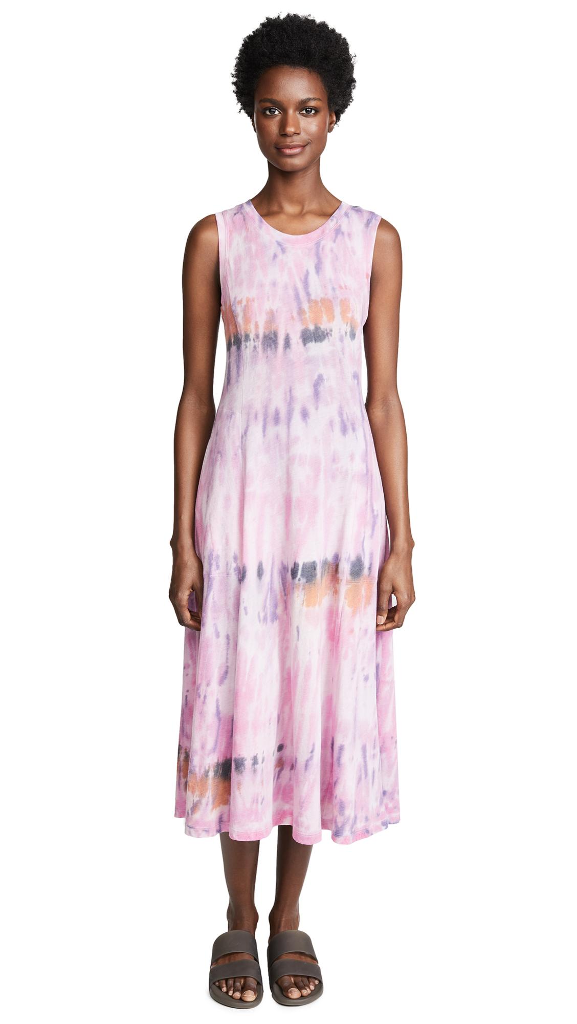 Raquel Allegra Big Sweep Midi Dress In African Violet Tie Dye