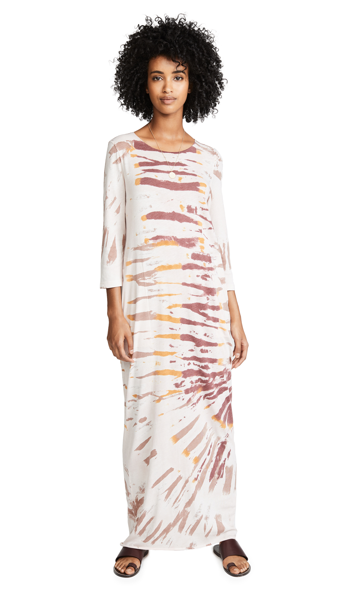 Raquel Allegra Half Sleeve Caftan Dress In Red Rock