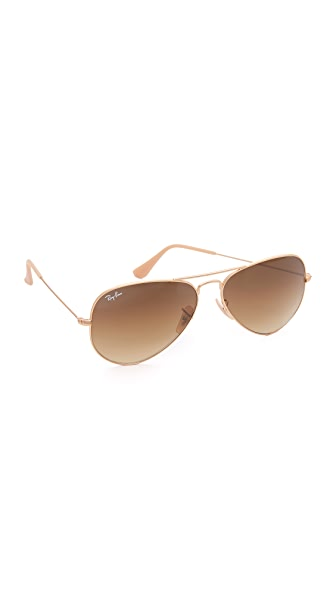 Ray-Ban Matte Classic Aviator Sunglasses - Matte Gold/Gradient Brown