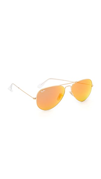 Ray-Ban Mirrored Matte Classic Aviator Sunglasses at Shopbop