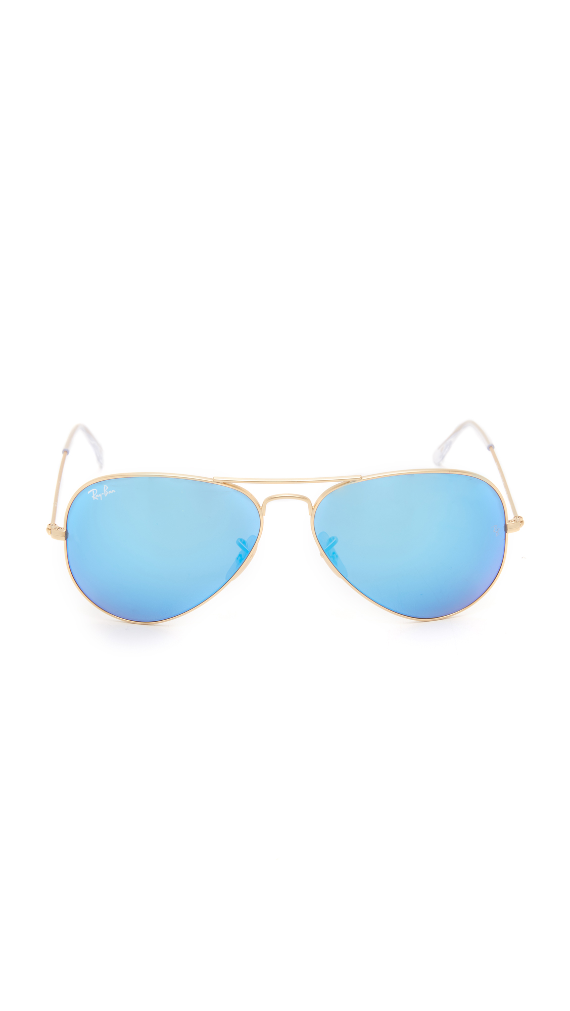 aviator blue  Ray-Ban Mirrored Matte Classic Aviator Sunglasses