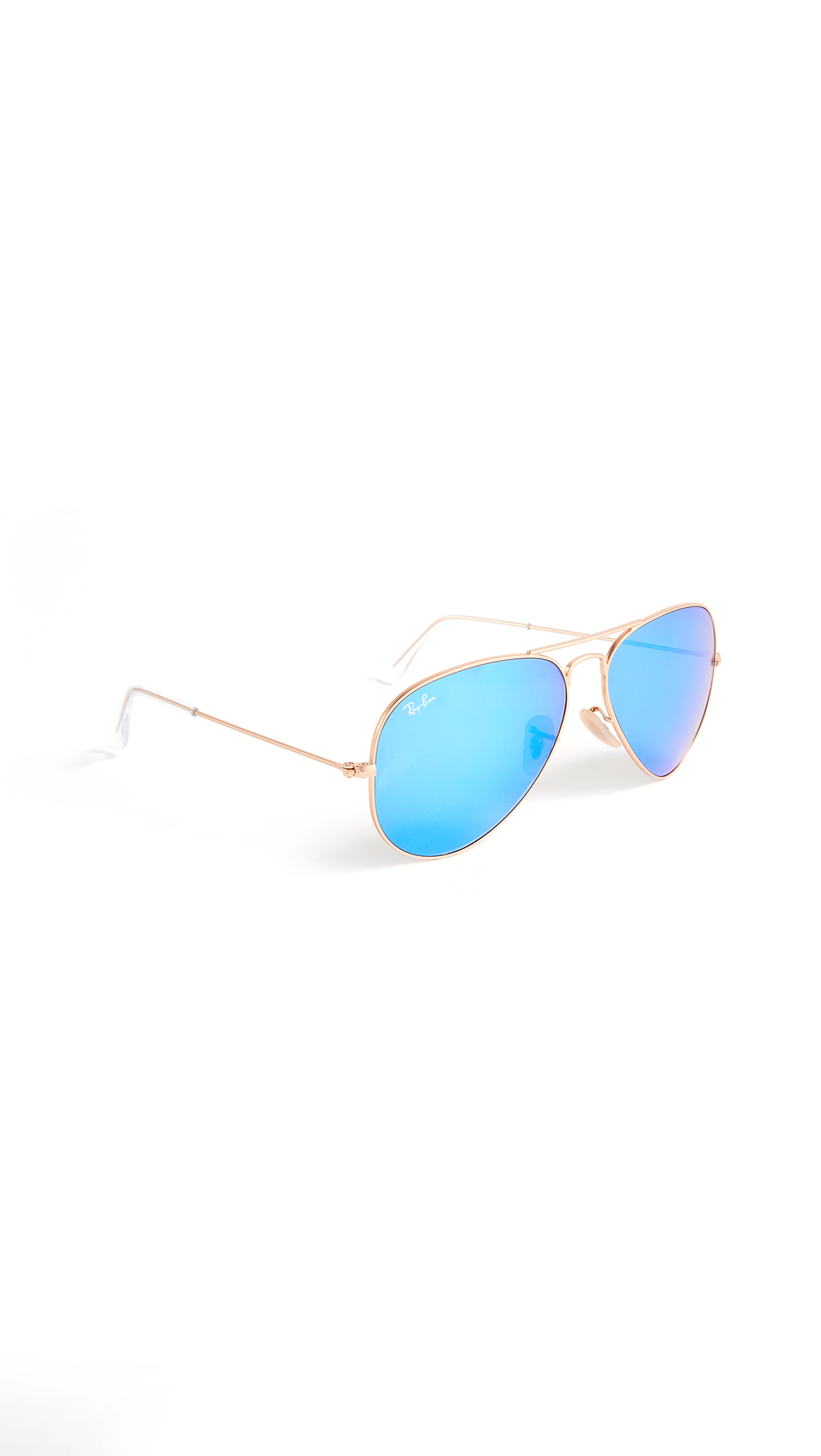 Ray-Ban Mirrored Matte Classic Aviator Sunglasses In Matte Gold/Blue Mirror