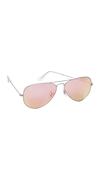 Ray-Ban Flash Lens Matte Aviator Sunglasses In Matte Silver/Brown Pink Mirror