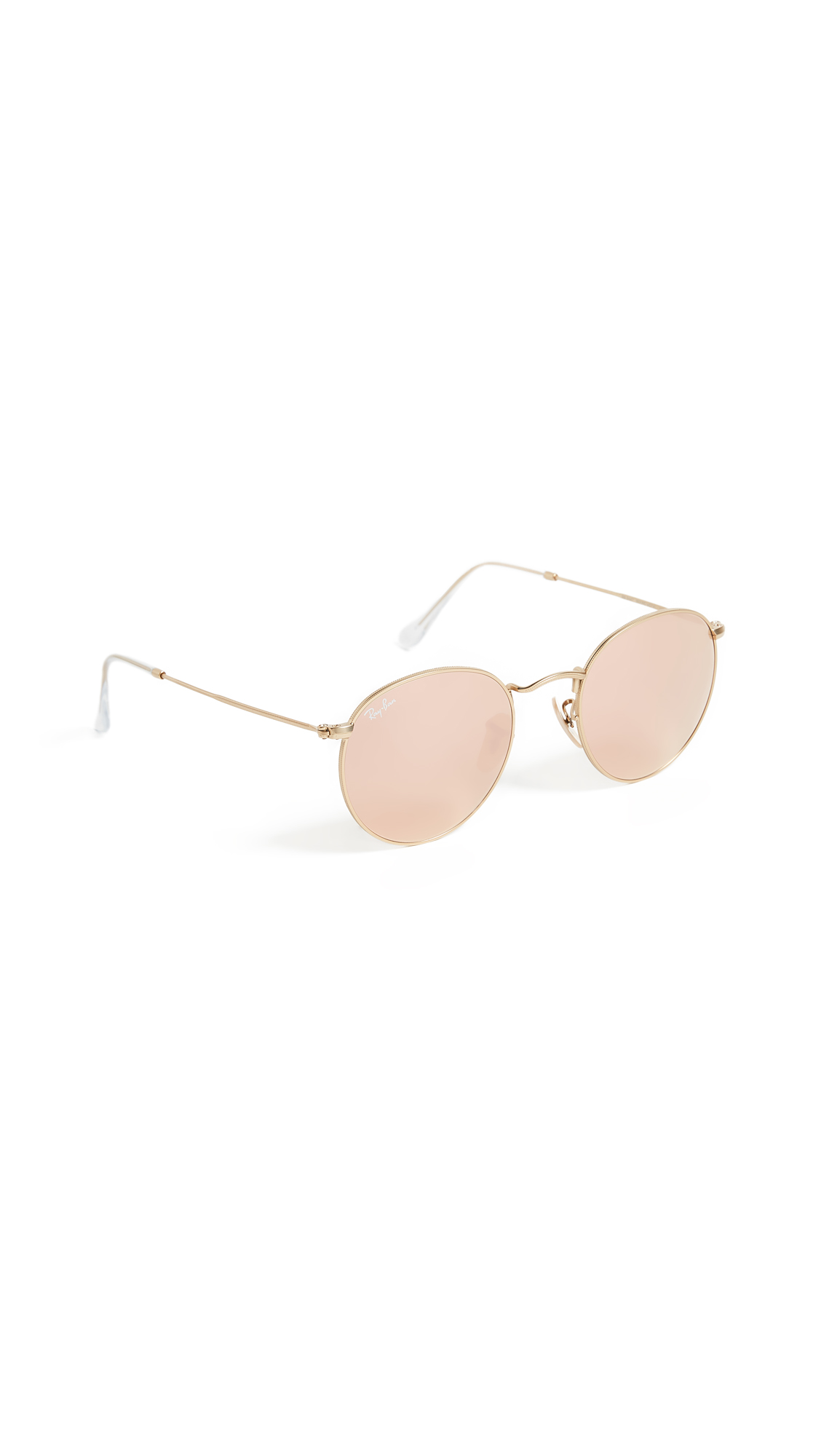 Ray-Ban Icons Mirrored Sunglasses In Matte Gold/Brown Mirror Pink