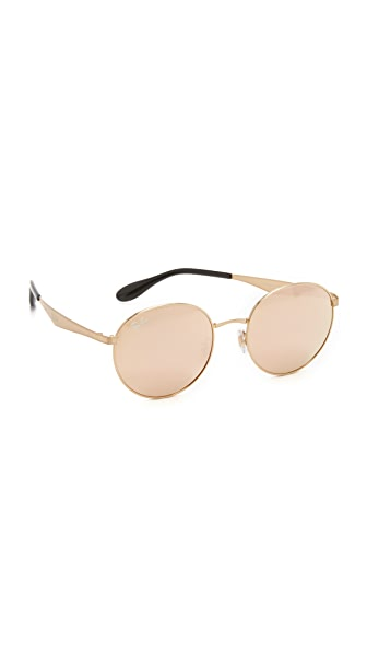 Ray-Ban Highstreet Round Sunglasses - Gold/Brown Mirror Pink