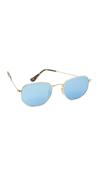Ray-Ban Зеркальные солнцезащитные очки в восьмиугольной оправе