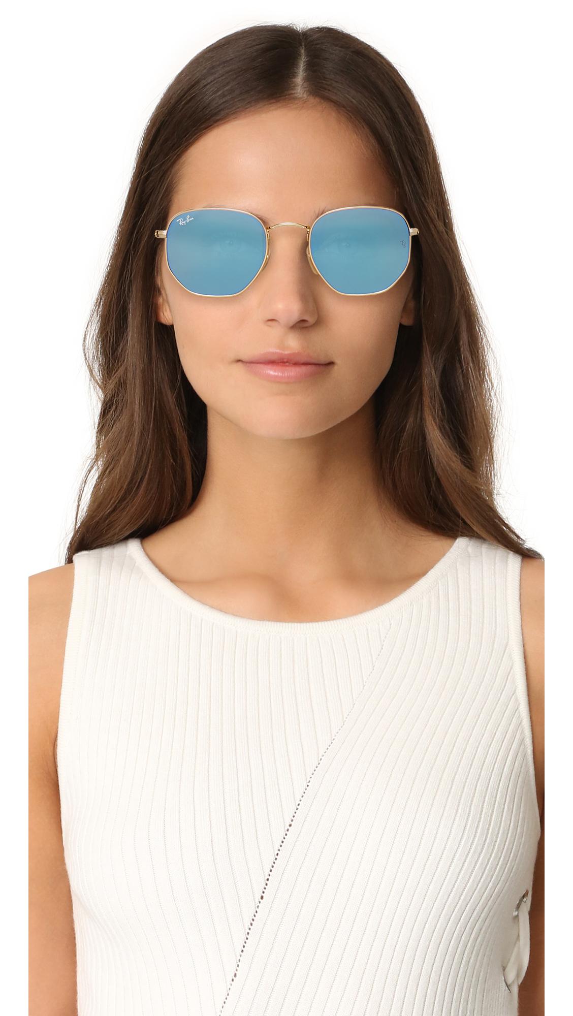 9d41c9d222a Ray-Ban RB3548N Hexagonal Mirrored Sunglasses