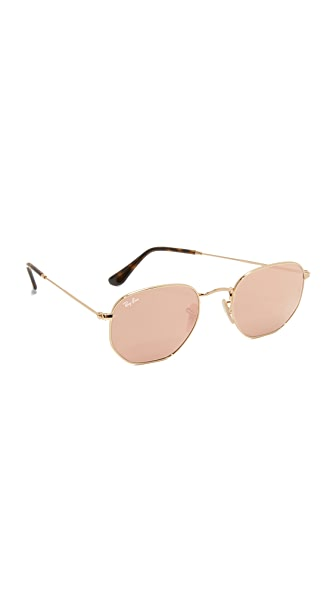 Ray-Ban Octagon Mirrored Sunglasses In Gold/Copper