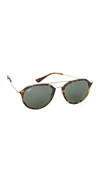 Ray-Ban Highstreet Aviator Sunglasses - Light Havana/Green