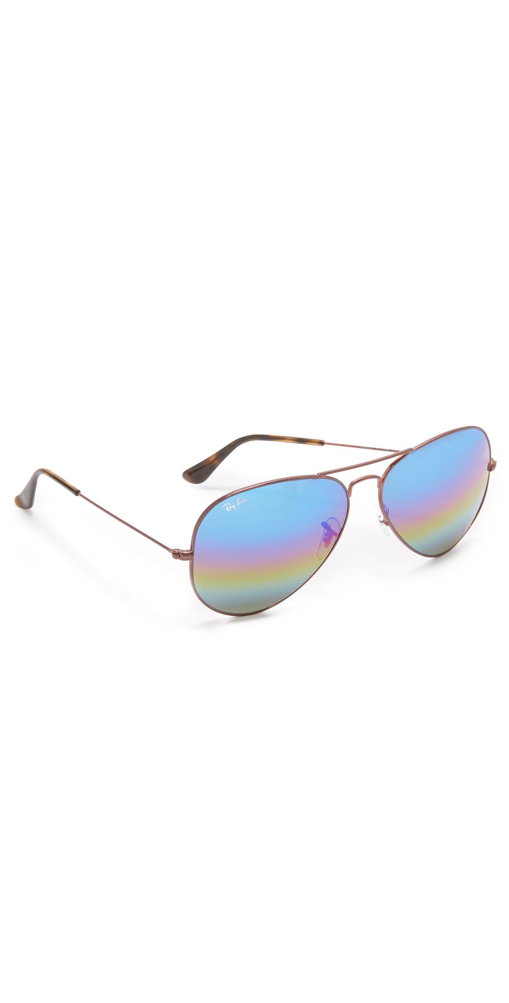 Rainbow Mirrored Aviator Sunglasses Ray-Ban