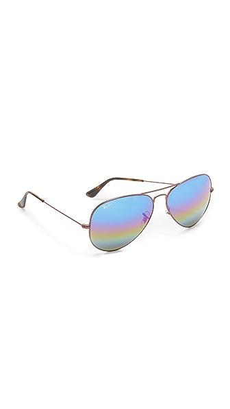 Ray-Ban Rainbow Mirrored Aviator Sunglasses In Bronze/Blue Gold Green Rainbow