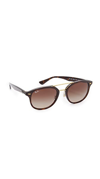 Ray-Ban Highstreet Browbar Sunglasses - Havana/Brown