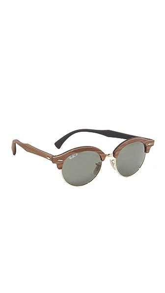 Ray-Ban Polar Round Wood Sunglasses - Walnut/Green