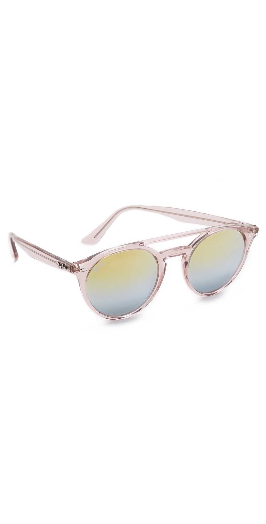 Round Browbar Mirrored Sunglasses Ray-Ban