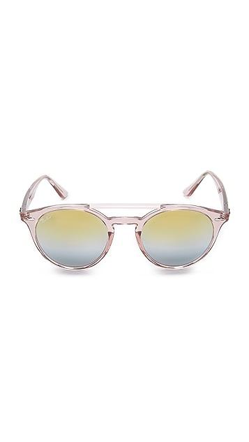 Ray-Ban Round Browbar Mirrored Sunglasses