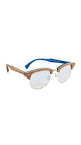 Ray-Ban Wood Clubmaster Flash Sunglasses