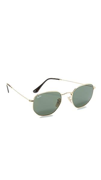 Ray-Ban Hexagonal Sunglasses - Gold/Green