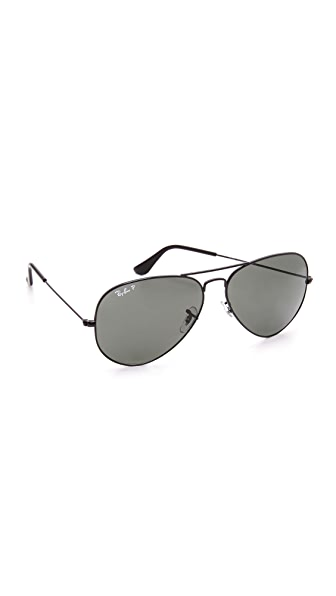 Ray-Ban Oversized Polarized Aviator Sunglasses - Black/Green