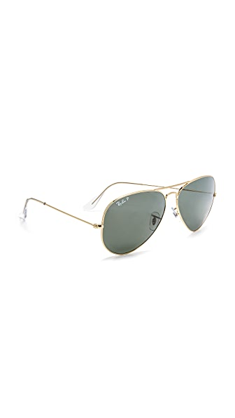 Ray-Ban Oversized Polarized Aviator Sunglasses - Gold/Green