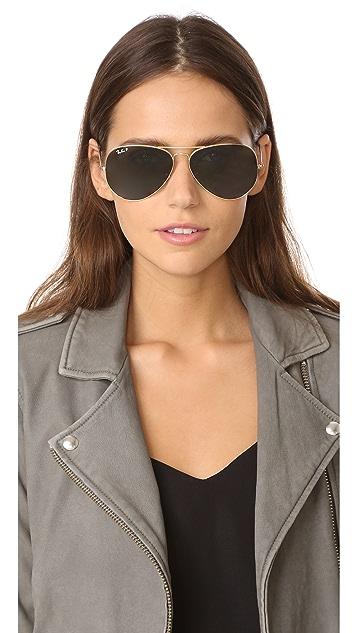 Ray-Ban Oversized Polarized Aviator Sunglasses