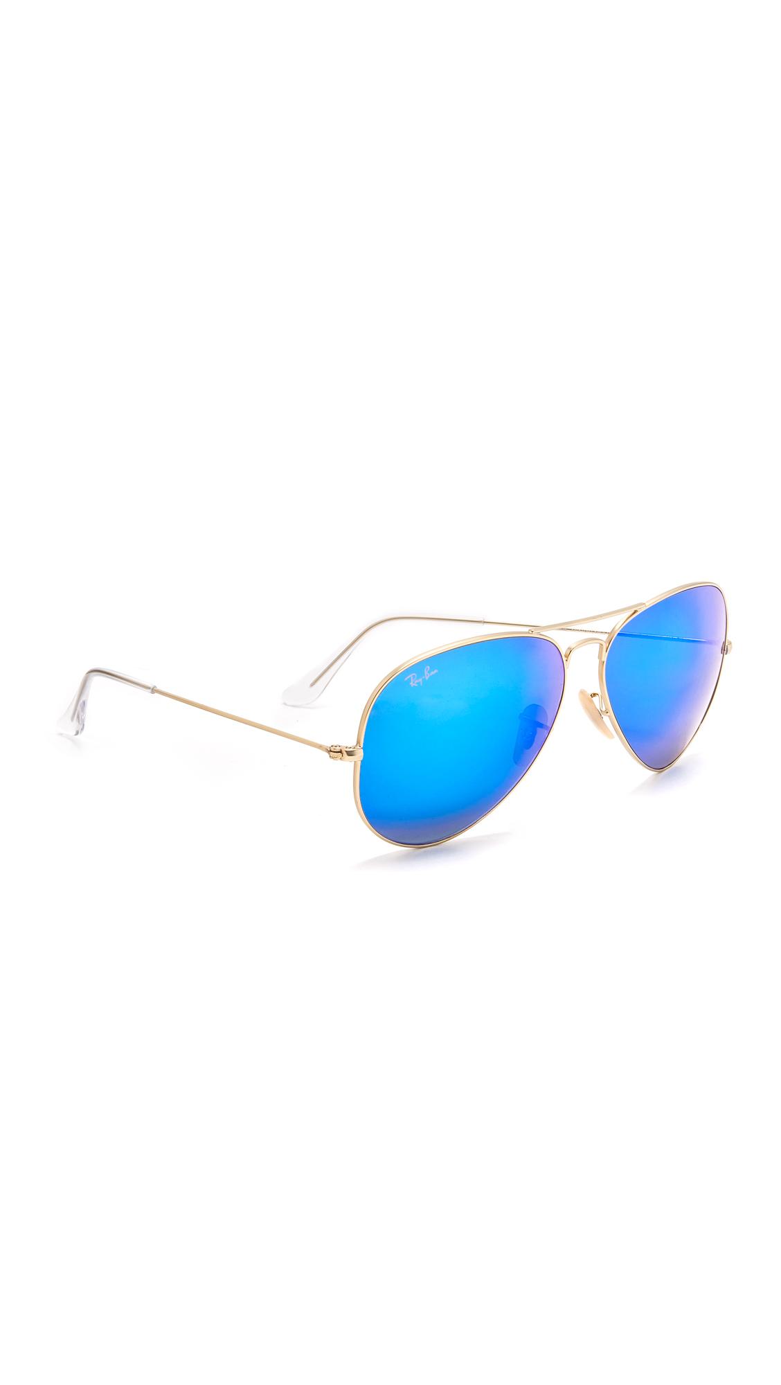 Ray-Ban Oversized Mirrored Aviator Sunglasses - Gold/Blue