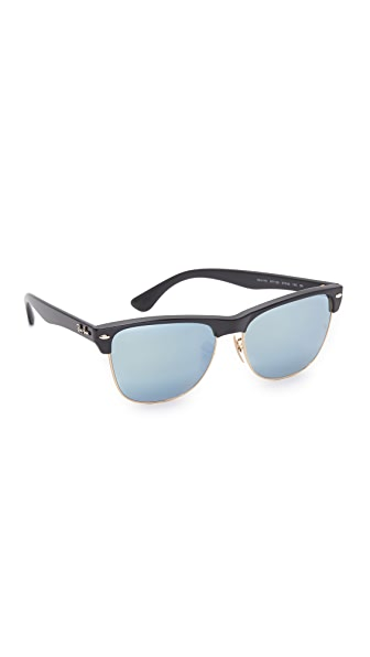 Ray-Ban Oversized Clubmaster Sunglasses - Demi Shiny Black/Silver