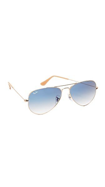 Ray-Ban Aviator Sunglasses In Gold/Light Blue