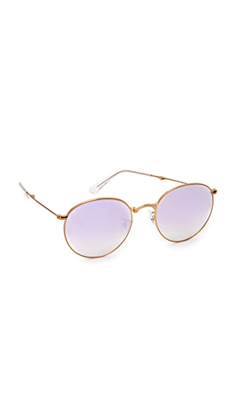 Ray-Ban Round Mirrored Sunglasses - Shiny Bronze/Lilac Grey